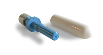 Connector, V-pin crimp and cleave, blue